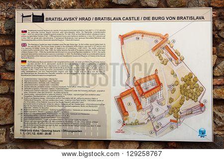 Bratislava, Slovakia - May 29: Plan of the Bratislava Castle on May 29, 2015 in Bratislava in Slovakia