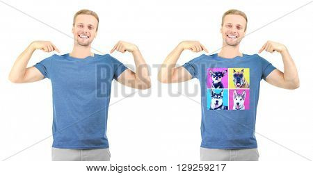 T-shirt design concept - man in blank t-shirt and man in t-shirt with print of dogs