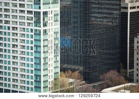 Detail view of modern city architecture with interesting patterns and shapes Melbourne Victoria Australia