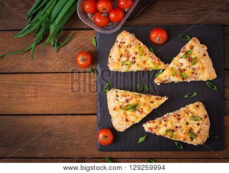 Soda Scones (bread)  With Ham, Cheese And Chives. English Cuisine. Top View