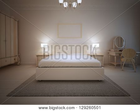 Art deco bedroom trend. Double bed tick pile carpet grey color in bedroom with white walls and light wood laminate. 3D render