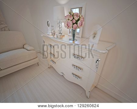 Console in art deco lounge. White walls and light beige color furniture and flooring. 3D render