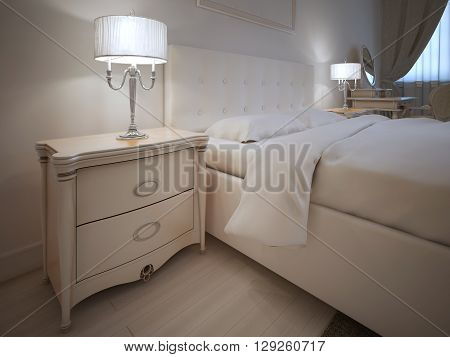 Hotel room in neoclassic style. 3D render