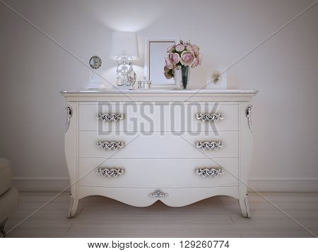 Vintage style console table in a classic bedroom standing against a white wall with decorations and lamp on top. Glossy vase with flowers frame. 3D render
