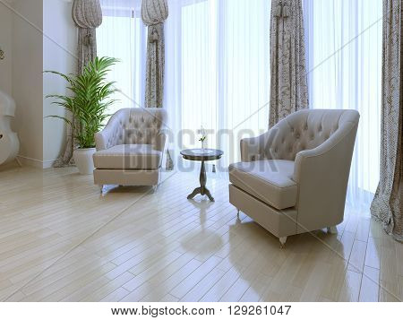 Cozy place near window for meeting. Two white armchair and coffe table between. Panoramic windows. 3D render