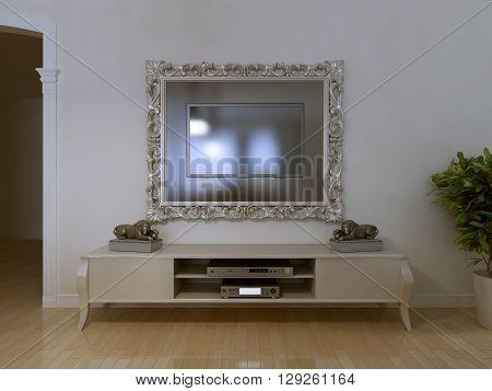 Mounted in beauty frame TV. 3D render