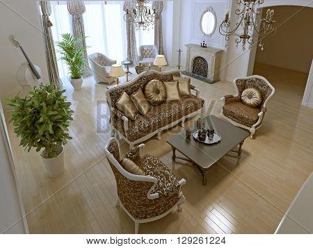 Idea of art deco living room. 3D render
