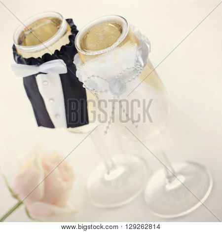 Champagne glasses for bride and groom wedding concept