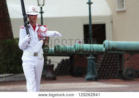 Monte Carlo, Monaco - September 14, 2015: The guard marches outside the royal palace in Monaco on September 14, 2015 in Monte Carlo, Monaco.
