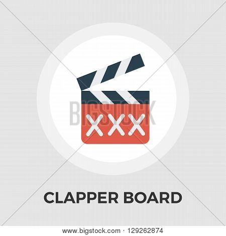 Adult movie clapper icon vector. Flat icon isolated on the white background. Editable EPS file. Vector illustration.