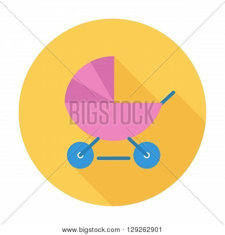 Pram icon. Flat vector related icon with long shadow for web and mobile applications. It can be used as - logo, pictogram, icon, infographic element. Vector Illustration.