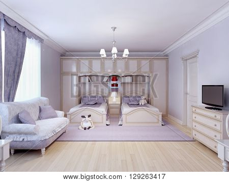 Child bedroom for two in neoclassic style. Purple theme two single bed combined with wall system. 3D render