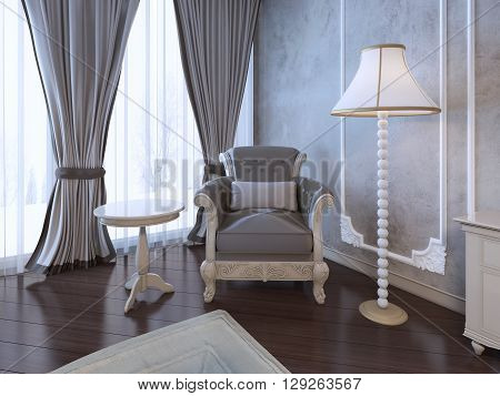 Relax place in neoclassic bedroom. Single armchair medium taupe color coffe table and floor lamp near window with twisted curtains. 3D render