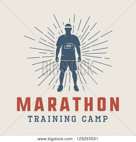 Vintage marathon or run logo emblem badge poster print or label. Vector Illustration.