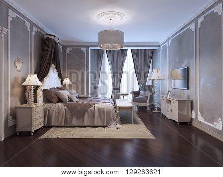 Inspiration for luxury hotel bedroom. 3D render