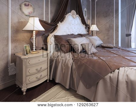 Expensive bed at neoclassic bedroom. Pillows on bed in luxury mahogany bedroom. Bedside table with lamp and frame. 3D render