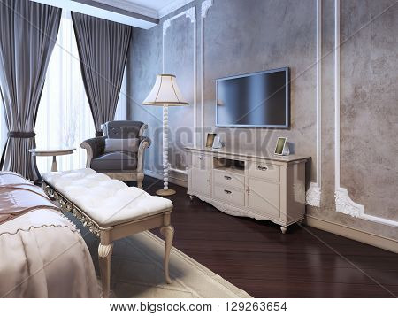 Idea of decor luxury bedroom. Frame molding on the wall different furniture darkwood flooring. 3D render