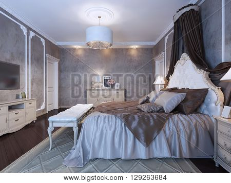 Large double bed with curtains in neoclassical bedroom with dark walls and floor. 3D render