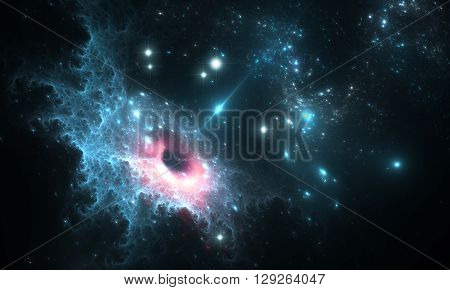 Black hole in the nebula. Space background and stars with blue space nebula