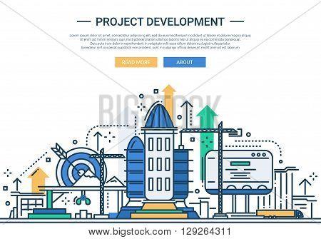Illustration of vector modern line flat design website banner, header with a rocket construction scene