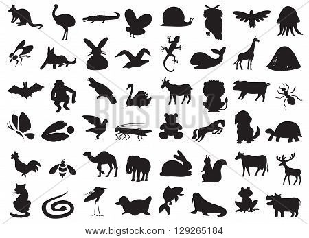silhouettes of wild and domestic animals birds and insects on a white background.