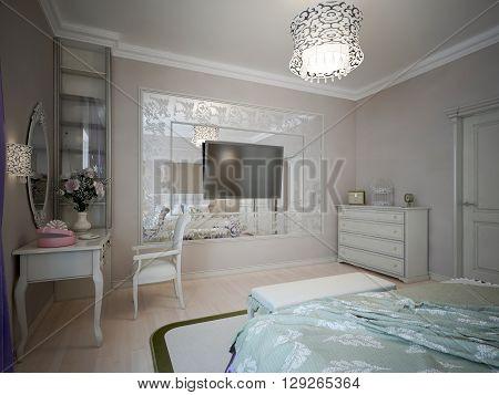 Design of classic bedroom with beige walls. 3D render