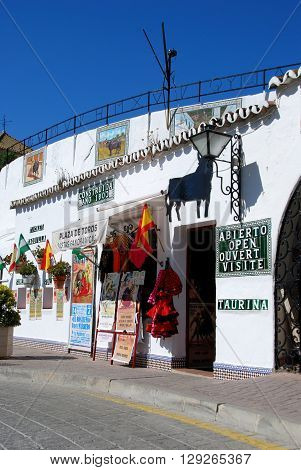 MIJAS, SPAIN - JUNE 14, 2008 - View of the bullring and entrance built in 1900 Mijas Malaga Province Andalucia Spain Western Europe, June 14, 2008.