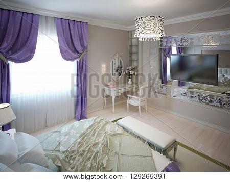 Inspiration for art deco bedroom. 3D render
