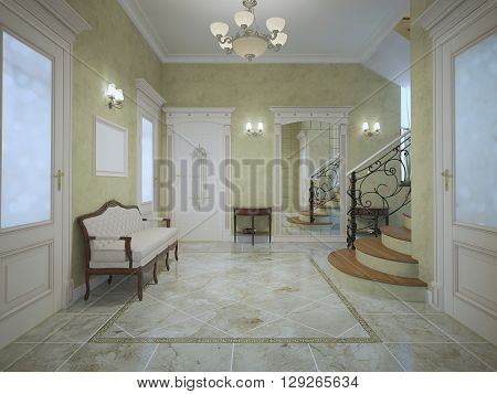 Spacious entrance of hotel in neoclassical style. 3D render