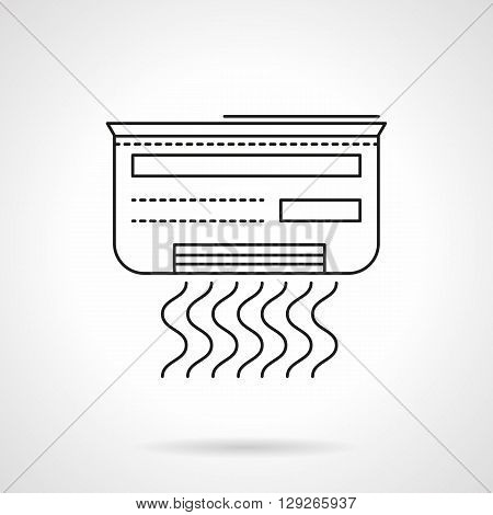 Air conditioner with symbol of waves. Equipment for create a comfortable indoor temperature. Climatic technics. Flat line style vector icon. Single design element for website, business.