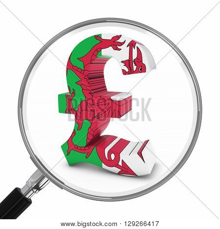 Wales Finance Concept - Welsh Pound Symbol Under Magnifying Glass - 3D Illustration