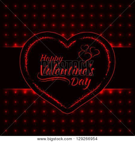 Happy Valentines day red lights card, heart and text lights design on dark background