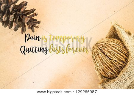 Inspiration quote on dried plant ornament background stock photo