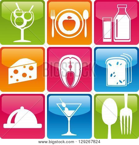 Set of food icons: ice cream plate fork spoon apple milk fish dairy cheese bread