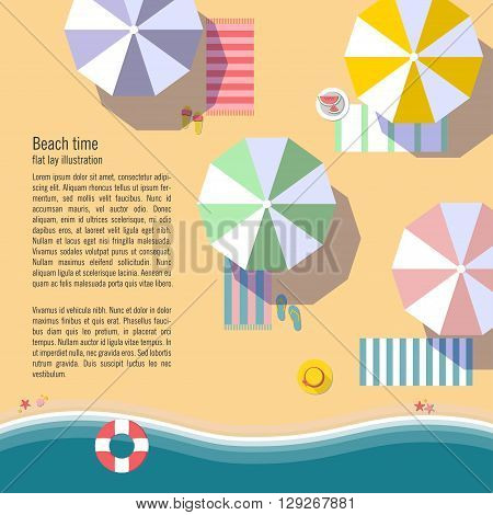 Summertime flat lay background.Beach, sea, sun umbrellas and other details. It can be used in advertising, web design, graphic design for the layout. Vector illustration.