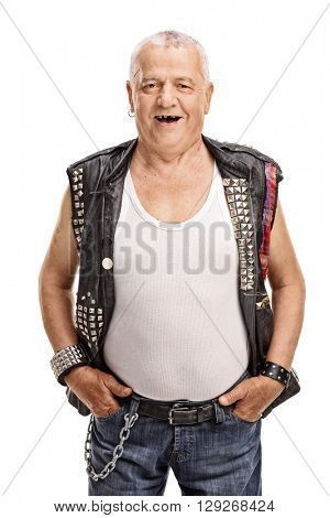 Vertical shot of a cheerful mature punk rocker isolated on white background