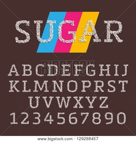 Vector font made of sugar. Realistic characters style. Latin alphabet from A to Z. Fontface with serifs in capital letters.