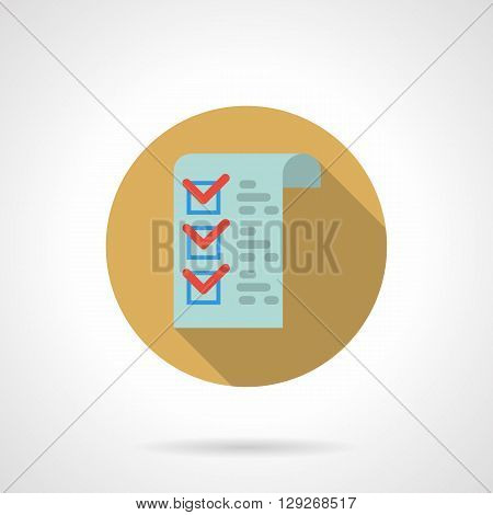 Blue paper with red check marks. Voting online, education and exam testing. Round flat color style vector icon. Web design element for site, mobile and business.