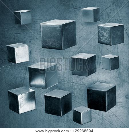 Abstract metal background with flying cubes. 3d rendering