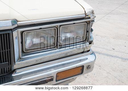 Headlight of vintage car. retro car lamp