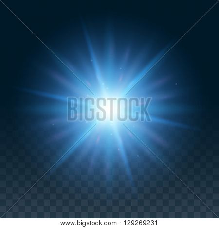 Vector glow light effect. Star bursts with sparkles isolated on black background. Blue hexagon lens flare from sun or star.