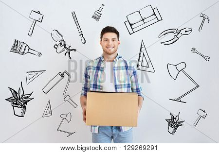 moving, housing, repair, accommodation and people concept - smiling young man with cardboard box at home over doodles