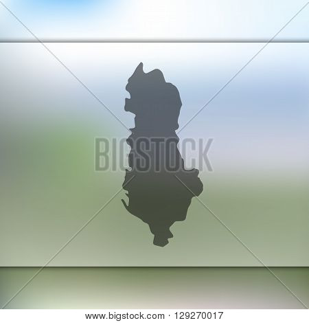 Albania map on blurred background. Albania vector map. Blurred background with silhouette of Albania.