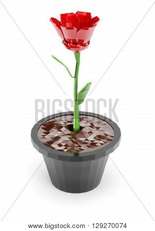 Low poly flower in the pot isolated on white background. 3d rendering