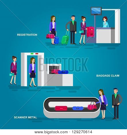 Characters people in airport lounge. Woman is registered, checks the metal scanner, people baggage claim.  Web banner people in airport, template  people in airport, illustration  people in airport