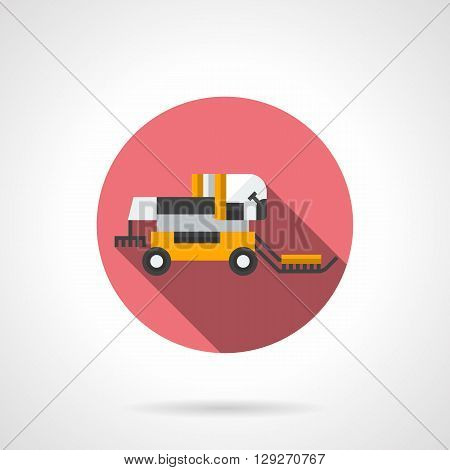 Yellow combine harvester with long shadow. Agricultural machinery, harvesting. Field summer job. Round flat color style vector icon. Web design element for site, mobile and business.