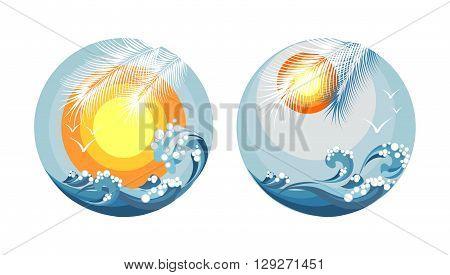 seascape sea sky sun vector illustration logo in a circle