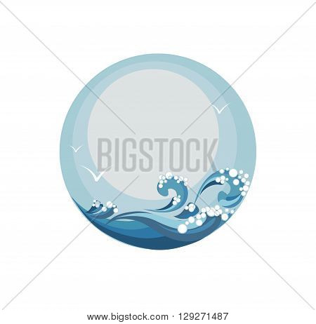 seascape waves of the sea and the sky vector illustration in the circle