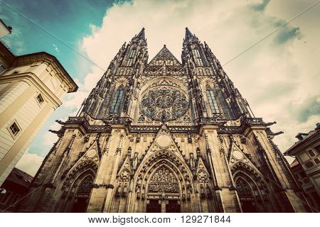 St. Vitus Cathedral, Prague, Czech Republic. Wide angle perspective. Vintage