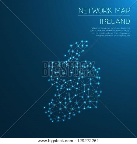 Ireland Network Map. Abstract Polygonal Map Design. Internet Connections Vector Illustration.